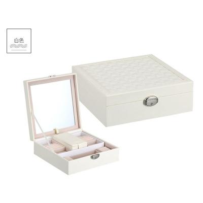 創意珠寶首飾盒木質 簡約個性首飾盒定做 純色多功能化妝箱 白色