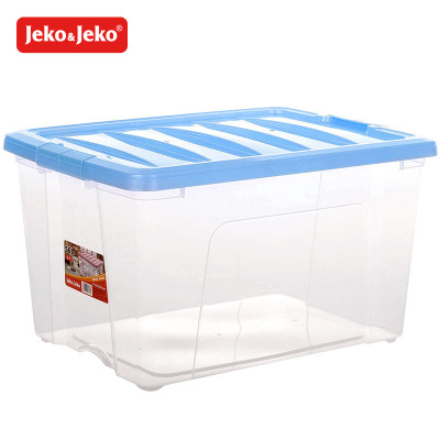 JEKO&JEKO 整理箱56L塑料透明收納箱大號家用棉被衣服兒童其他玩具收納盒豪華儲物箱 SWB-5327