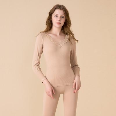 紅豆居家(Hodohome)深V蕾絲領 美體秋衣秋褲 性感打底 女士保暖內衣套裝