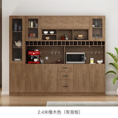 定制餐邊柜酒柜一體現代簡約柜子儲物柜客廳靠墻茶水廚房碗柜家用定制 2.4米E款/橡木色(有背板) 6門以上