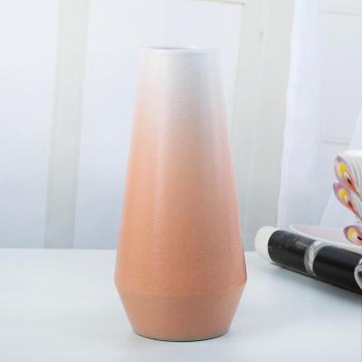 橙色 中等 陶瓷漸變花瓶INS風北歐干鮮花花插小清新家居樣品房軟裝飾花器【定制】