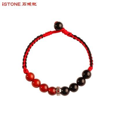 iSTONE石頭記 本命年紅黑瑪瑙混搭手工編織紅繩925銀轉運珠手鏈