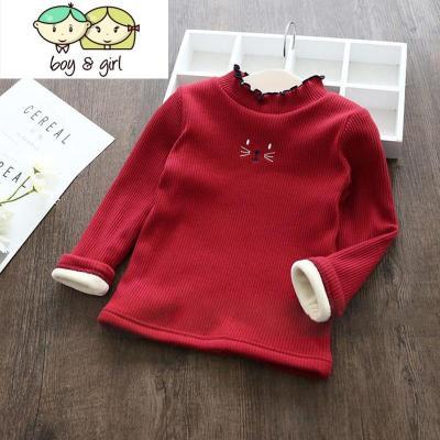 女童长袖T恤2018冬季新款韩版宝宝加绒保暖上衣小孩洋气打底衫潮
