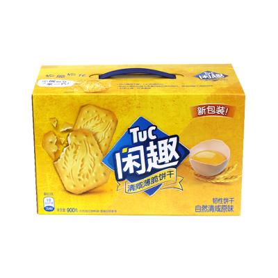 閑趣韌性餅干(自然清咸原味)900g/盒蘇打休閑零食盒裝