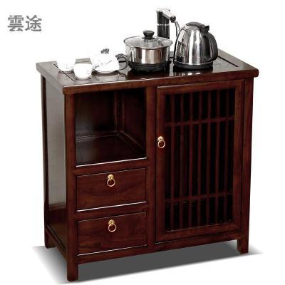 茶水柜茶柜實木客廳家用中式茶邊柜辦公室飲水機柜燒水柜小餐邊柜定制 B款紅花梨色 單門