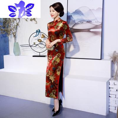 旗袍女冬装加绒加厚长款长袖修身显瘦大码复古民族风妈妈婚宴礼服  Ideamini