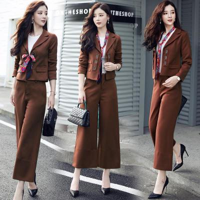 西装套装女2018春季英伦风百搭长袖韩版时尚阔腿裤气质淑女两件套