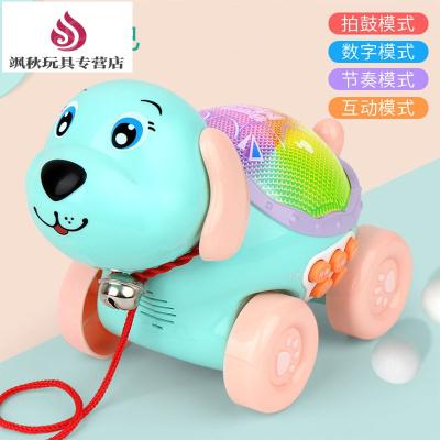 (品牌好貨)送小男孩小女孩出去散步玩的寶寶拖拉玩具機器狗走路拉繩兒童拉拉車拉拉線狗1-2歲拖著走的車3 綠色【送電池】