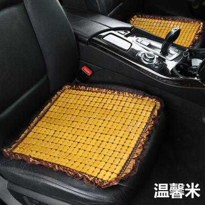 淘爾杰TAOERJ汽車坐墊涼墊碳化竹片夏季涼墊單片簡約花邊竹片透氣辦公通用四季墊 單座-魅力咖