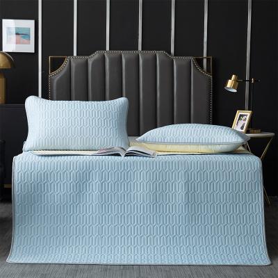 舒娜泰國乳膠涼席1.8米夏季冰絲席1.5米床可折疊可機洗軟席子涼枕三件套180*200純色經典款