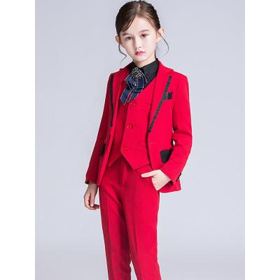 女童西装套装儿童西服女小主持人钢琴走秀演出服花童礼服三件套秋