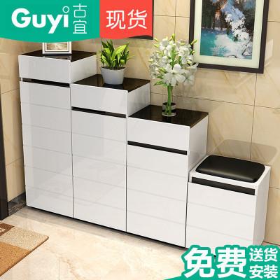 古宜家居(GuYi)G602時尚簡約屏風烤漆鞋柜換鞋凳組合間廳柜創意玄關柜隔斷柜客廳家具