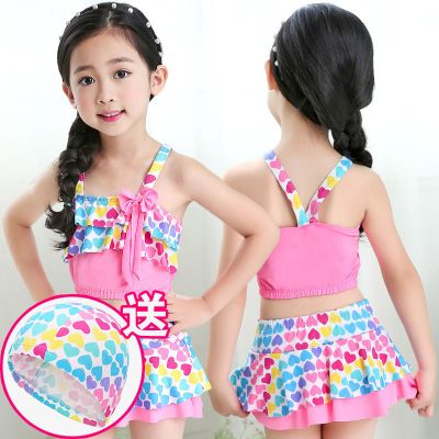 兒童泳衣女分體中大童泳裝 裙式學生韓版比基尼套裝小公主 游泳衣