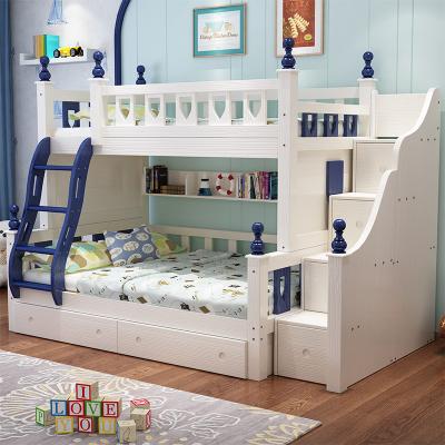 佰爾帝 地中海雙層床上下鋪木床美式男女子母床兩層實木孩兒童床高低床成年 大人床上下床粉白色公主床帶儲物組合床