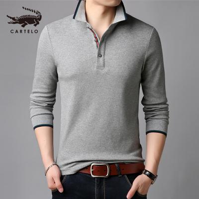 卡帝樂鱷魚(CARTELO)秋裝中年男士長袖T恤翻領純棉上衣爸爸裝全棉POLO衫