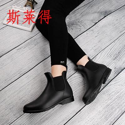 斯萊得時尚明星短筒雨鞋雨靴四季女士低筒松緊馬丁靴百搭水鞋鞋子