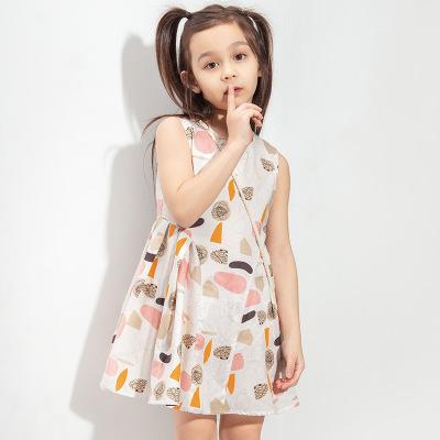 青蛙王子兒童裝女童連衣裙無袖夏季復古風輕薄洋氣中大童可愛裙子