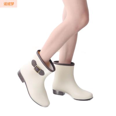 雨鞋女中筒水鞋時尚短筒雨靴防滑平底塑膠加絨套鞋廚房鞋成人水靴 諾妮夢
