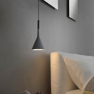 闪电客床头吊灯北欧现代简约卧室灯具设计师餐厅单头房间书房创意小吊灯 灰色(15cm)