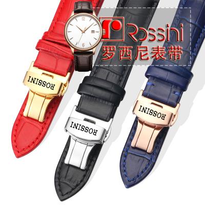 適用于羅西尼真皮手表帶原裝男女鱷魚紋款蝴蝶扣針扣頭層小牛皮帶表鏈配
