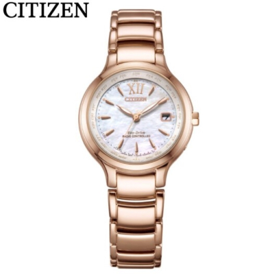 國行 西鐵城(CITIZEN)手表XC系列玫瑰金色外觀光動能多局電波女表 EC1173-87D