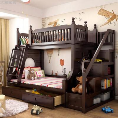 兒童高低床實木床上下床雙層床帶滑滑梯鋪橡木成年二胎美式子母床 梯柜床+抽屜 1500mm*2000mm更多組合形式
