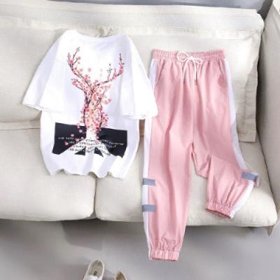 依魅人運動套裝女春夏季新款韓版寬松短袖長褲T恤學生兩件套
