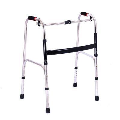 家庭保健养生老人可折叠 老人四脚助步器 不锈钢残疾人带轮助行架拐杖