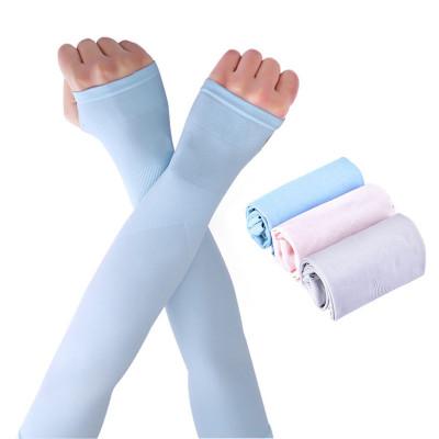 乾越(qianyue)防曬手套袖套春夏長款防紫外線開車護袖手套騎車臂套戶外運動護套出行袖套韓國冰絲跑男冰袖 2雙裝藍+灰