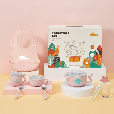 babycare 寶寶餐具禮盒兒童學習筷硅膠飯兜嬰兒輔食注水保溫碗伊達爾草原