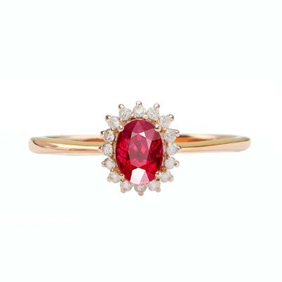 SHE CENTURY 18K玫瑰金鑲嵌鉆石天然紅寶石戒指 5*7彩寶戒指送愛人