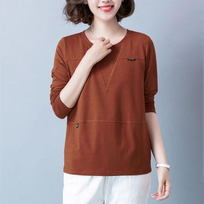 純棉大碼中老年媽媽裝打底衫女長袖T恤女寬松秋裝新款韓版上衣威珺