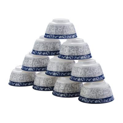 瓷物语日式餐具陶瓷釉下彩4.5英寸米饭碗 吃饭碗家用10只装