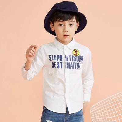 【1件3折价:43.8】moomoo童装男童衬衫春秋儿童中大童字母印花学院素色翻领衬衣