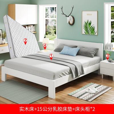 北欧纯实木床橡木日式白色双人床现代简约1.5米小户型1.8米主卧床