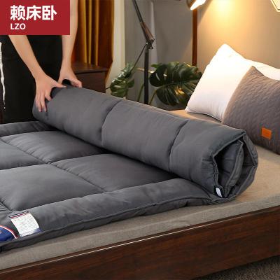 賴床臥(LZO)家紡 2020新款床墊學生床褥四季褥子宿舍家用床褥子加厚包邊純色床墊防滑有綁帶可折疊上下鋪床床墊子