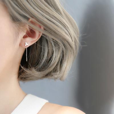 銀匠三葉花朵幸運可愛S925純銀耳線清新耳環耳釘日韓女款