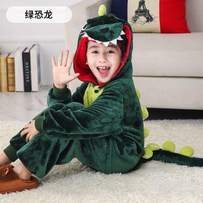 儿童连体睡衣法兰绒卡通动物独角兽天马演出服如厕秋冬恐龙家居服 臻涩