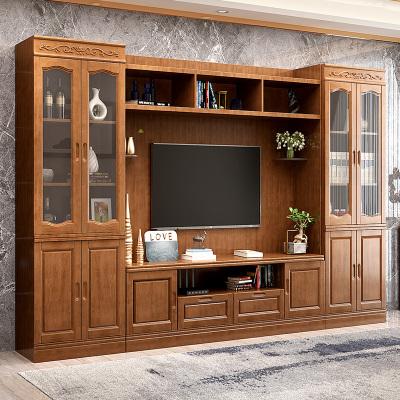 青木川 现代中式实木电视柜背景墙柜 客厅电视机柜组合柜 多功能收纳柜储物柜大小户型 整体影视柜