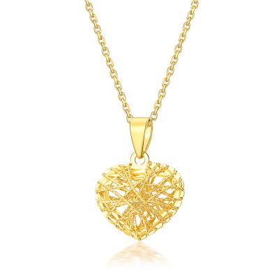 佐卡伊zocai 時尚心形黃金18K金吊墜女士彩金素金項墜正品珠寶