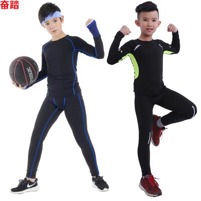 兒童緊身衣訓練服套裝長袖健身服男彈力運動跑步籃球足球打底速干