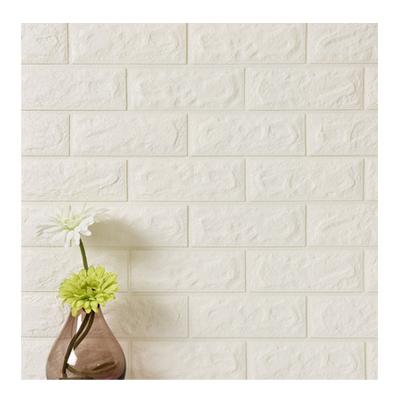 創意PE立體墻紙 自粘簡約現代3D防撞磚紋裝修凹凸白磚墻貼臥室客廳墻磚蘊森電視背景墻壁