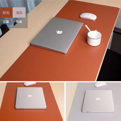 酷猫 鼠标垫 超大双面皮质写字电脑办公桌垫皮革大班台桌面防水工作铺垫子游戏120*60浅灰+咖啡色