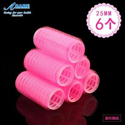 acare艾呵6個25mm自粘卷筒內扣家用發卷大卷梨花卷器空氣劉海造型夾塑料卷