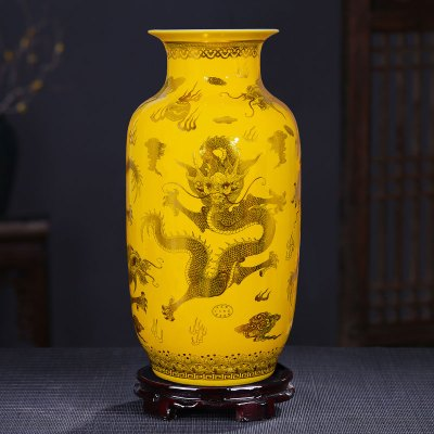 每日精進(enhancement) 景德鎮陶瓷大花瓶擺件新中式客廳落地插花大號家居玄關電視柜擺件