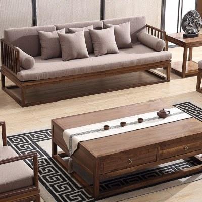 HOTBEE现代新中式实木禅意沙发组合简约中国风别墅会所客厅整装定制家具