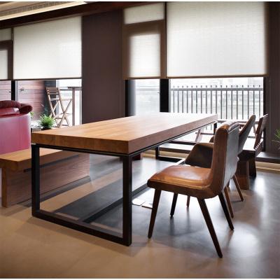 尋木匠美式鐵藝復古書桌實木餐桌防銹做舊辦公桌寫字臺loft會議桌電腦桌