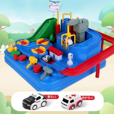 抖音同款玩具汽車闖關大冒險益智兒童軌道玩具車益智力【經典色2車】