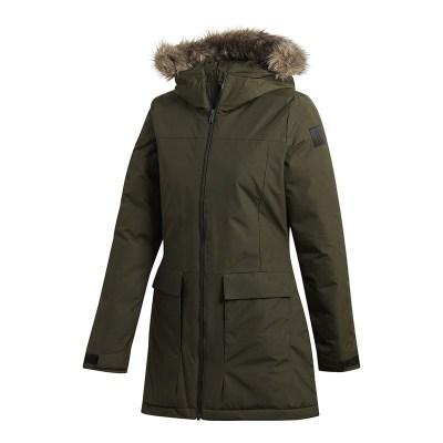 阿迪達斯(adidas)冬季女士防風保暖連帽中長棉服休閑運動外套CY8600