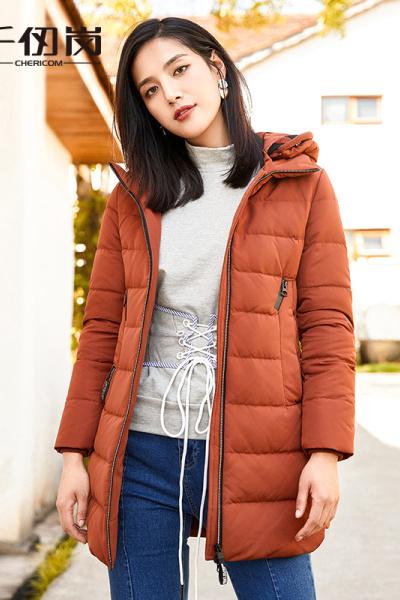 千仞岗2019秋冬品牌加厚羽绒服女时尚中长款连帽休闲冬外套